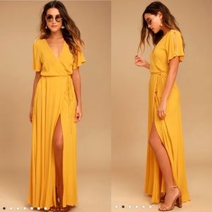 Much obliged golden yellow wrap dress